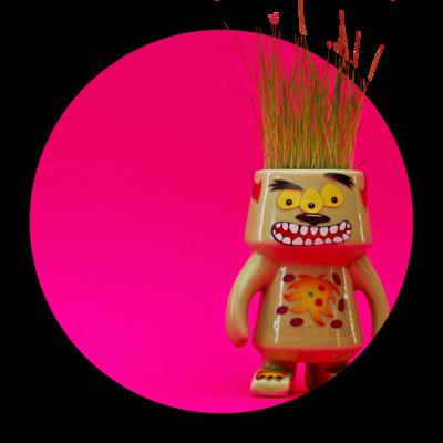 a cute monster with grass hair