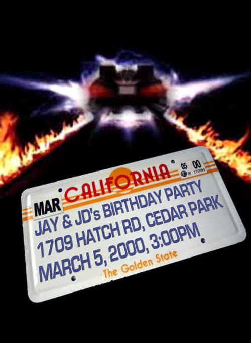 Back to the Future Party Invitation (Back)