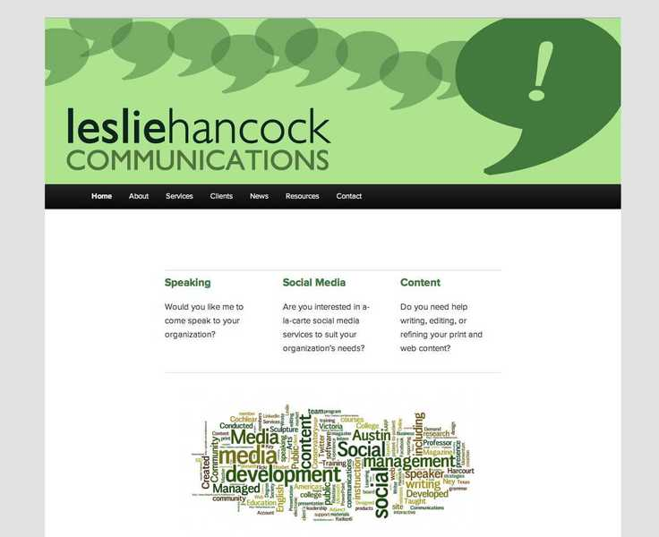 Screenshot of the Leslie Hancock website