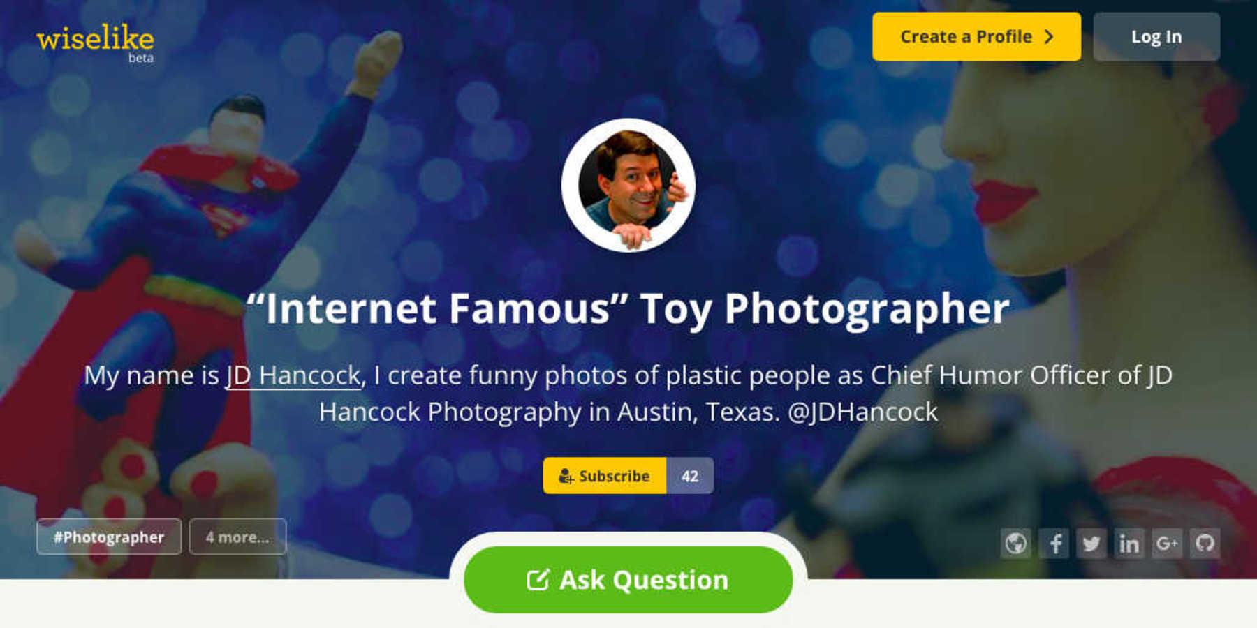 Screenshot of my Wiselike profile