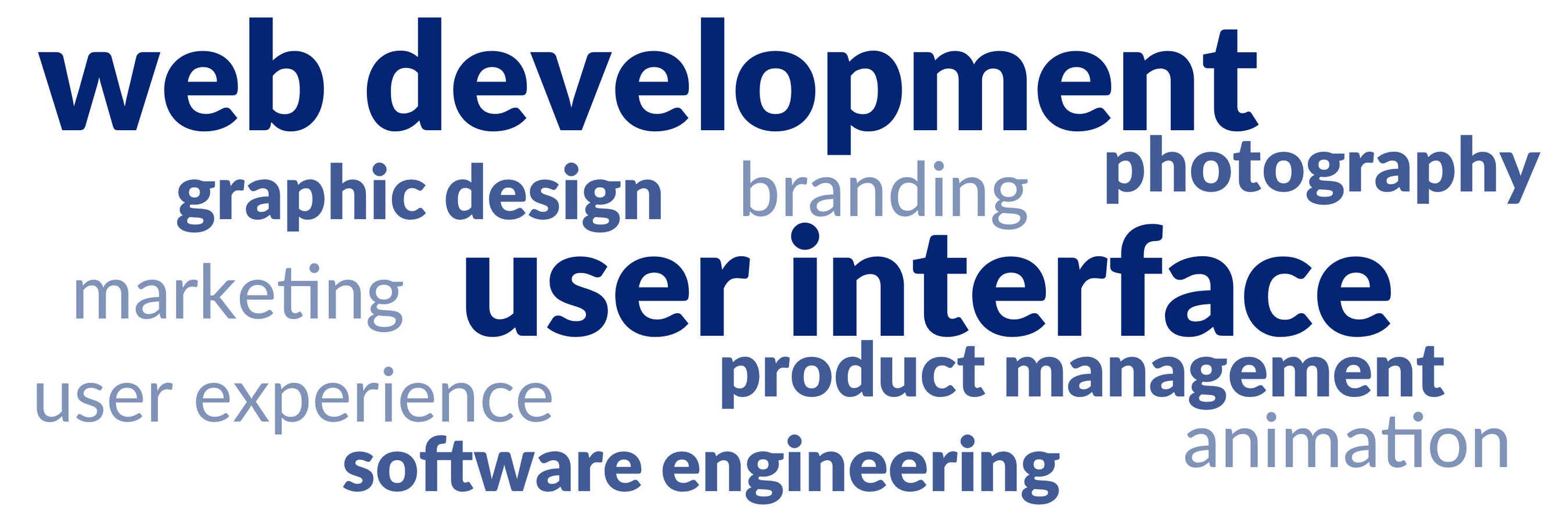 graphic design, web development, product management, user interface, user experience, branding, photography, animation, marketing, software engineering