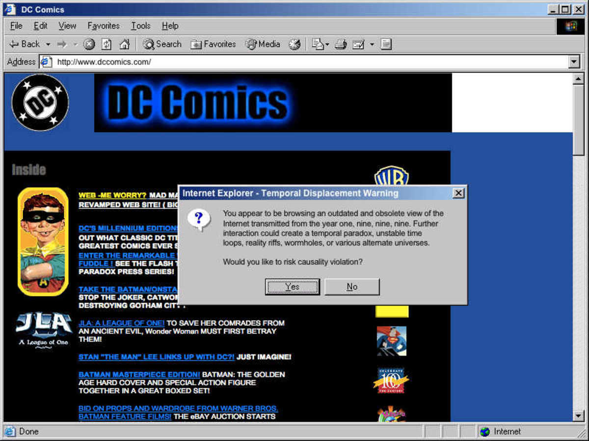 90's style DC Comics home page