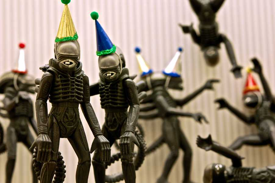 Photo of aliens wearing party hats