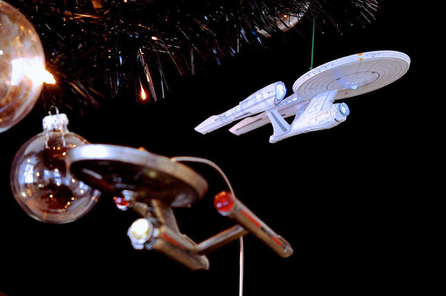Photo of Star Trek starship Christmas ornaments