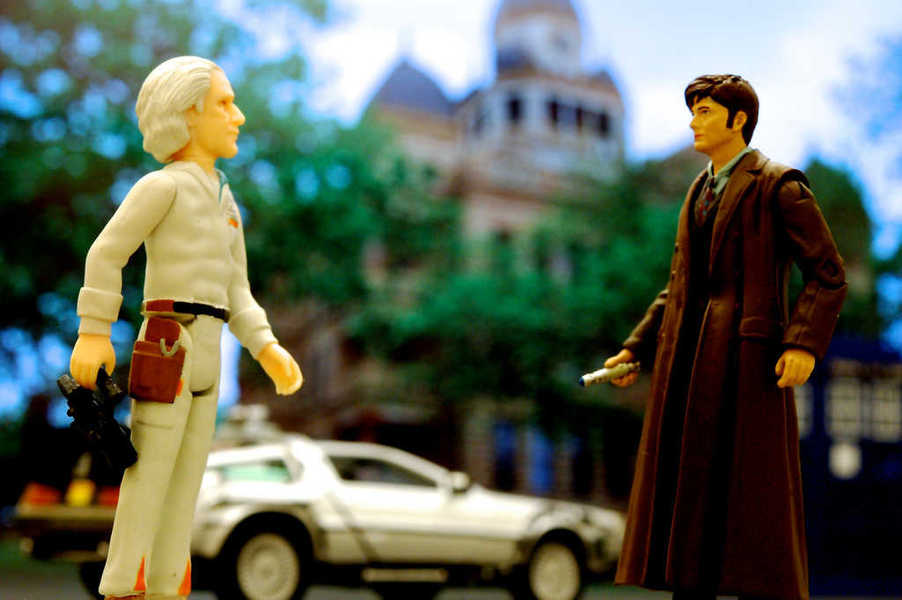 Back to the Future's Doc Brown meets the Doctor from Doctor Who
