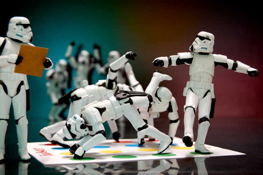 Photo of stormtroopers playing Twister on the Death Star