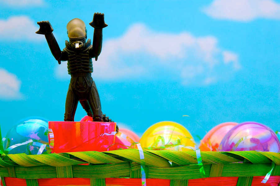 Photo of an alien jumping out of an Easter egg