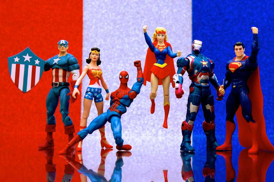 Photo of red, white, and blue superheroes