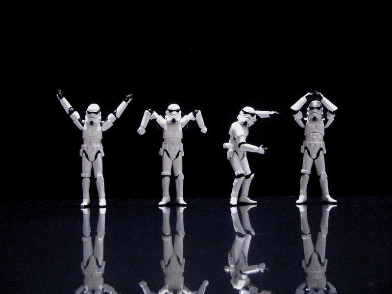 Photo of stormtroopers spelling out YMCA