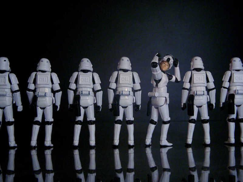 Photo of Luke Skywalker hiding among the stormtroopers