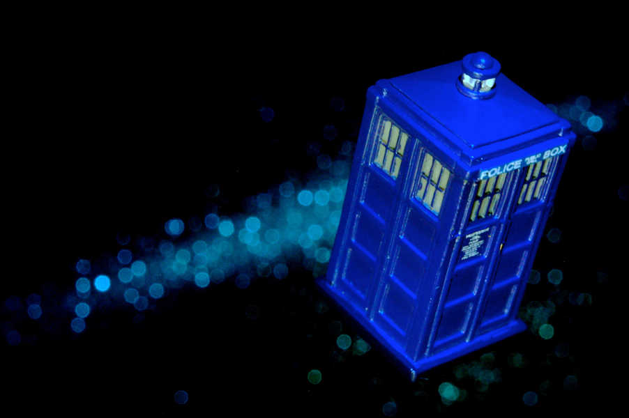 Photo of the TARDIS flying in space
