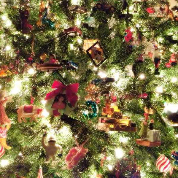Photo of many ornaments on a Christmas tree
