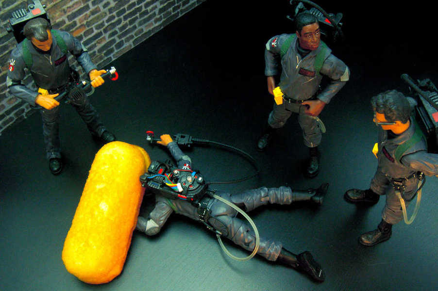 Photo of a large Twinkie knocking down a Ghostbuster