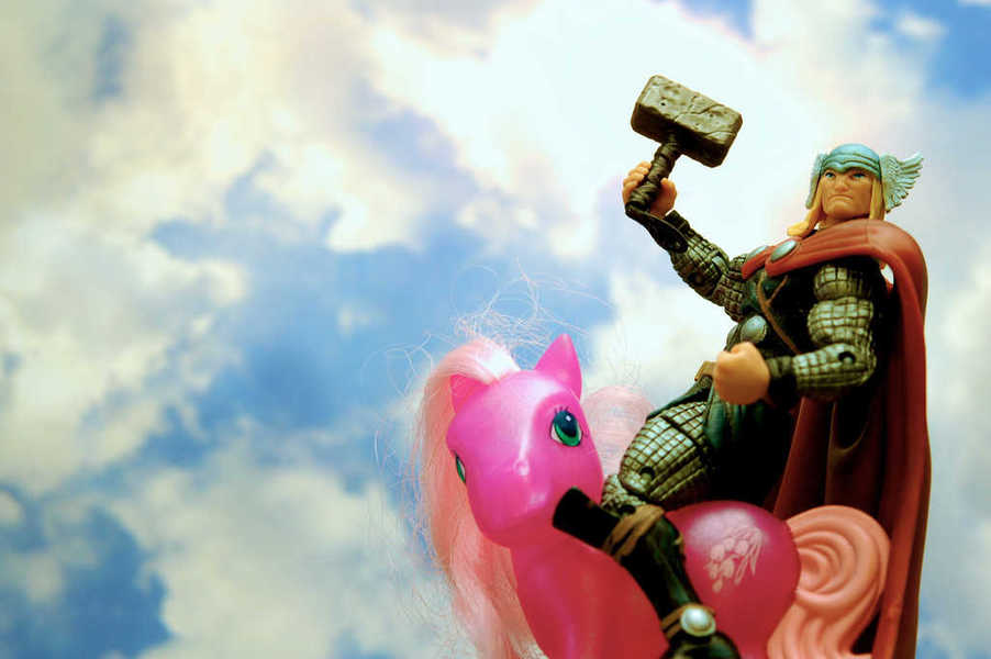 Photo of Thor riding the My Little Pony known as Wisteria