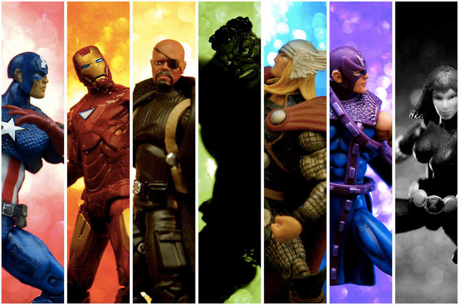 Collage of photos of Avengers