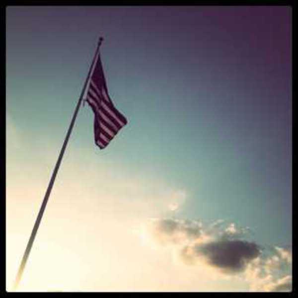 Photo of a US flag waving