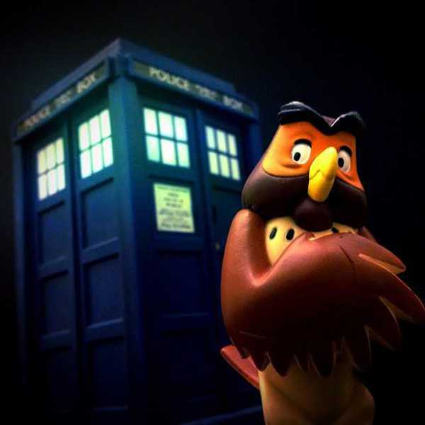 Photo of Owl in front of the TARDIS