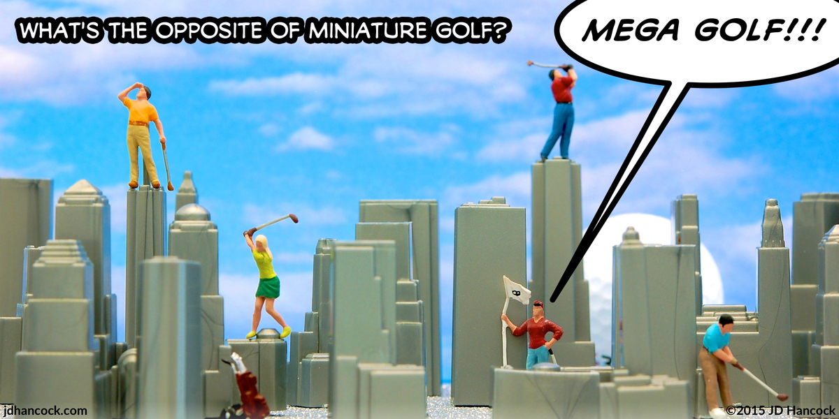 PopFig toy comic with golfers playing golf in a miniature city.