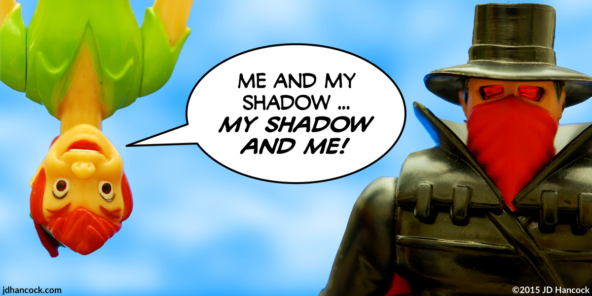 PopFig toy comic with Peter Pan and The Shadow.