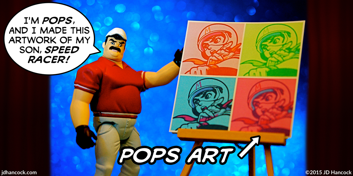 PopFig toy comic with Pops Racer from Speed Racer and his art.