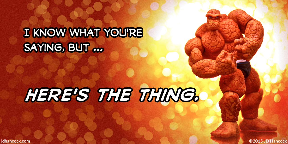 PopFig toy comic with The Thing from Marvel's Fantastic Four.