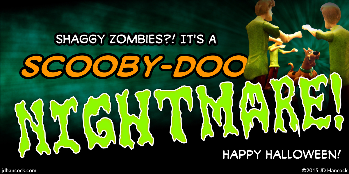 PopFig toy comic with Scooby-Doo and three Shaggy Zombies.