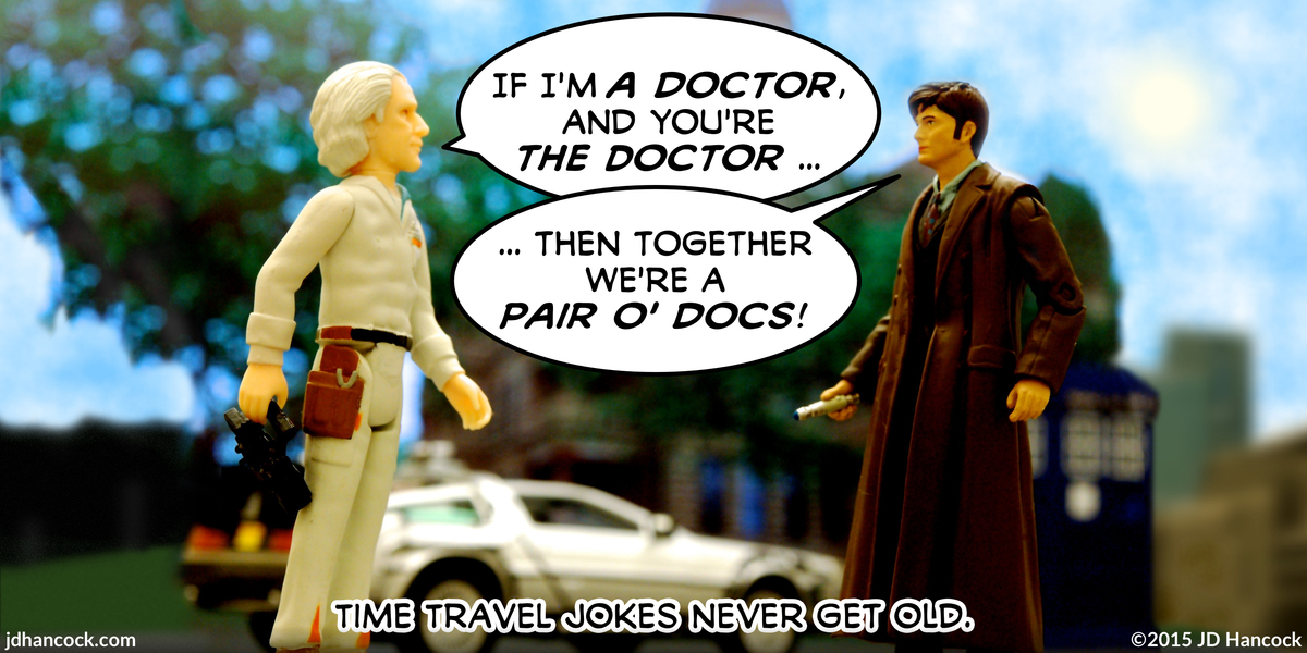 PopFig toy comic with Doc Brown and The Doctor.
