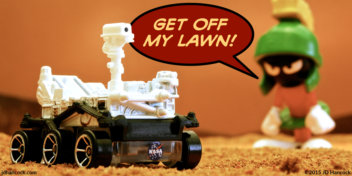 PopFig toy comic with Marvin the Martian and NASA's Mars Curiosity rover.