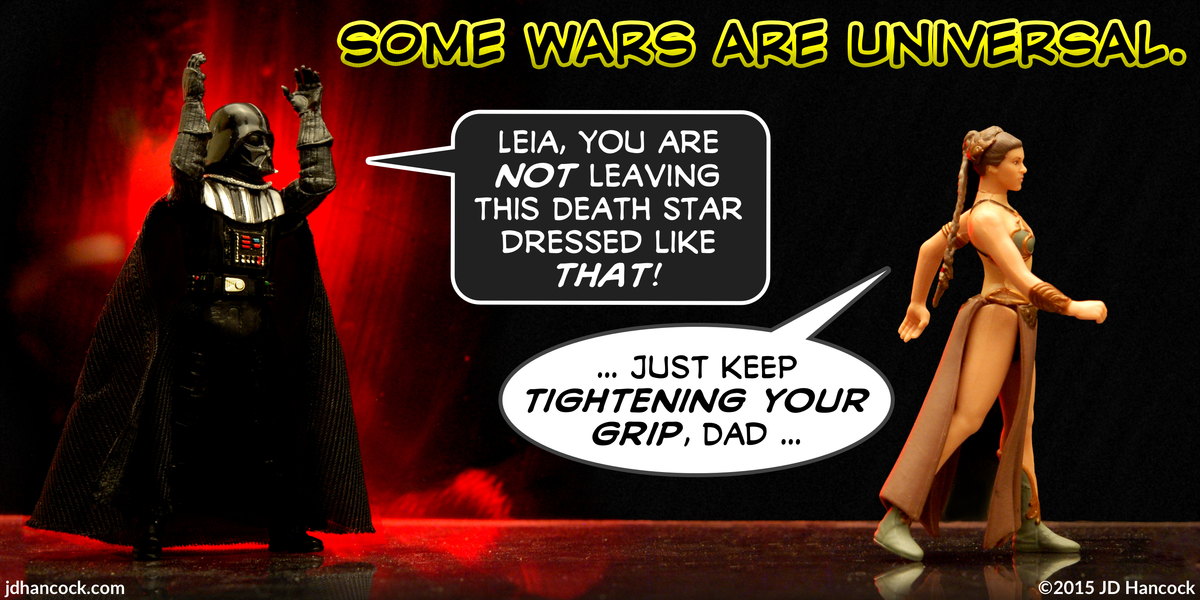 PopFig toy comic with Darth Vader shouting at 'slave girl' Leia.