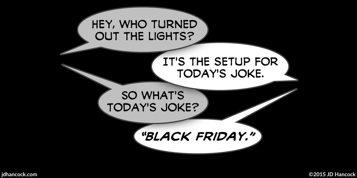 PopFig toy comic with two characters talking in total darkness.