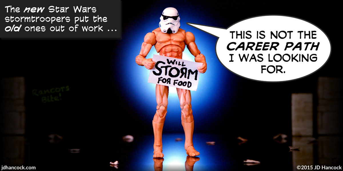 PopFig toy comic with a mostly naked stormtrooper panhandling.