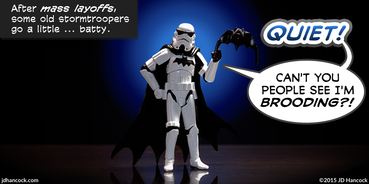 PopFig toy comic with a stormtrooper dressed as Batman.