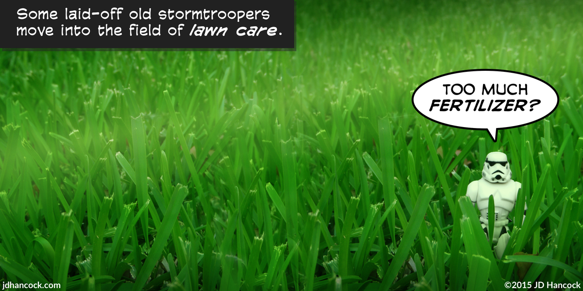 PopFig toy comic with a stormtrooper standing in very tall grass.