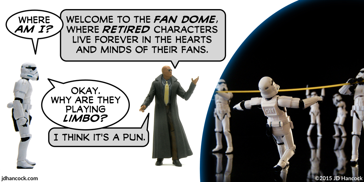 PopFig toy comic with a stormtrooper speaking to Morpheus.