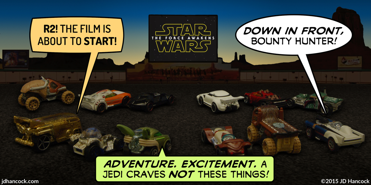 PopFig toy comic with Star Wars cars at a drive-in theater.