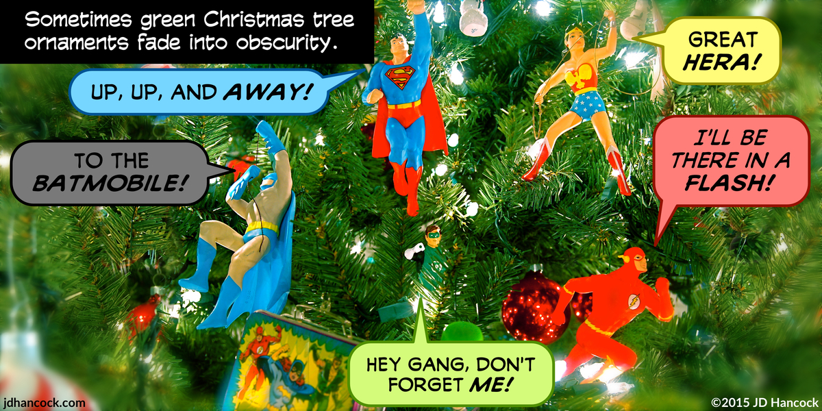 PopFig toy comic with Justice League Christmas tree ornaments.