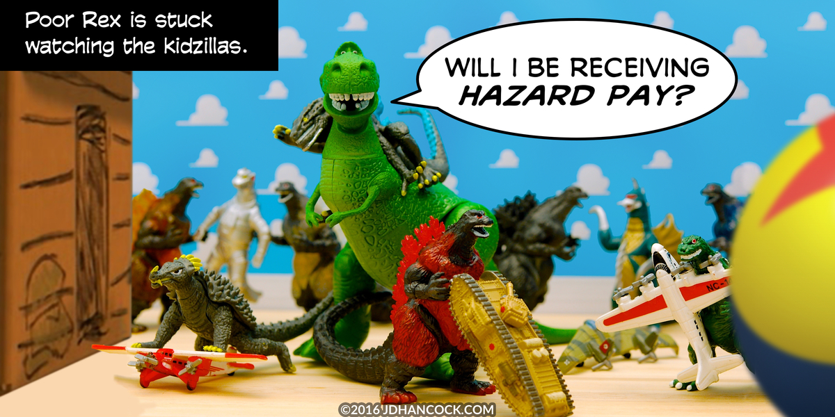 PopFig toy comic with Rex the dinosaur and many mini-Godzillas.