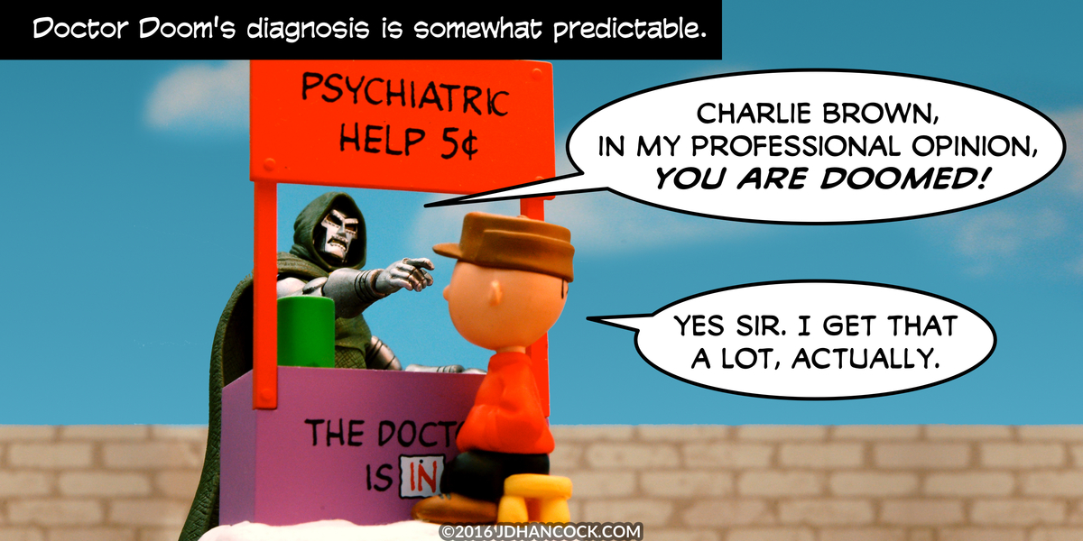 PopFig toy comic with Doctor Doom and Charlie Brown.