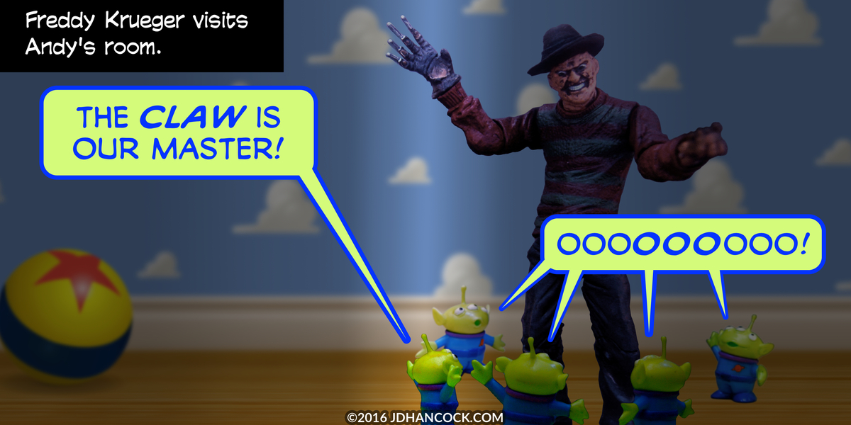 PopFig toy comic with Freddy Krueger and some Toy Story aliens.