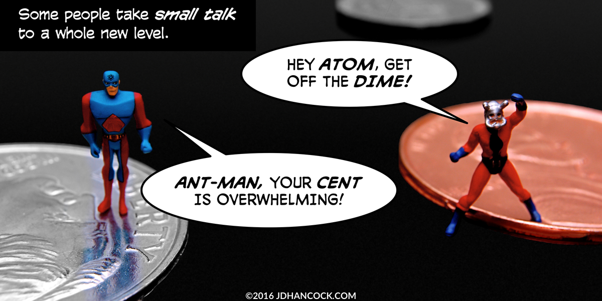 PopFig toy comic with the Atom and Ant-Man standing on coins.