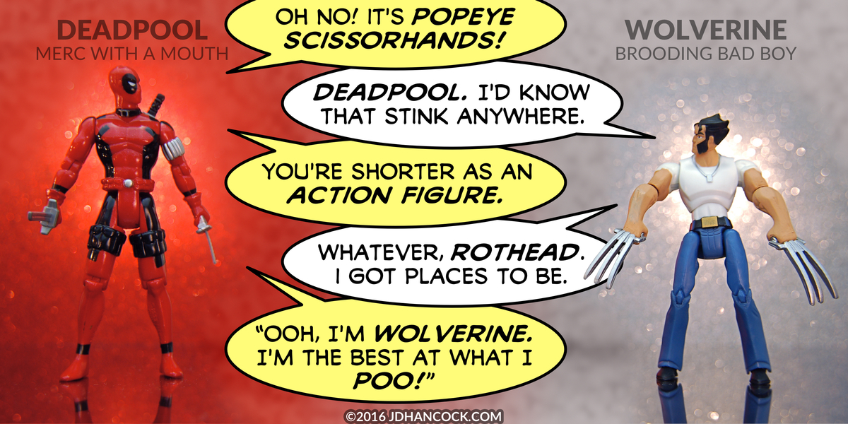 PopFig toy comic with Deadpool and Wolverine.