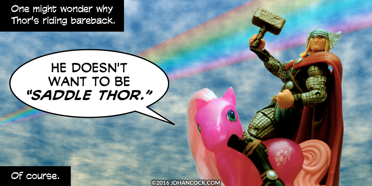 PopFig toy comic with Thor and My Little Pony Wysteria.