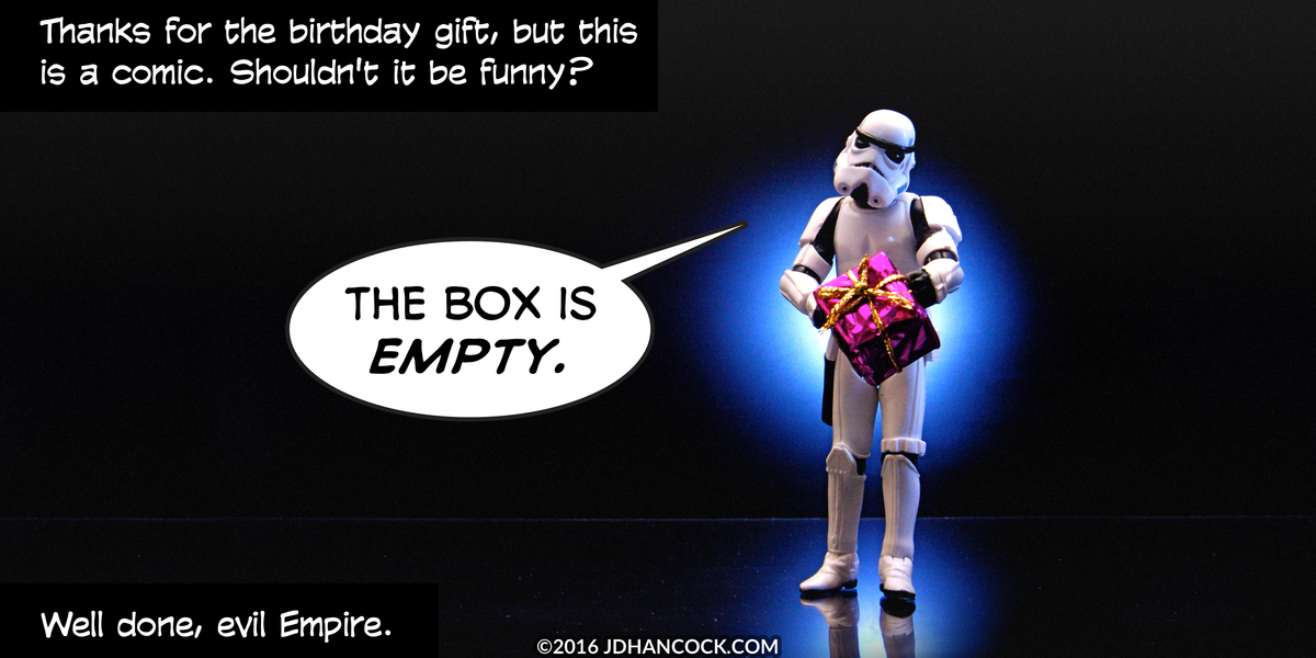 PopFig toy comic with a stormtrooper presenting a gift.