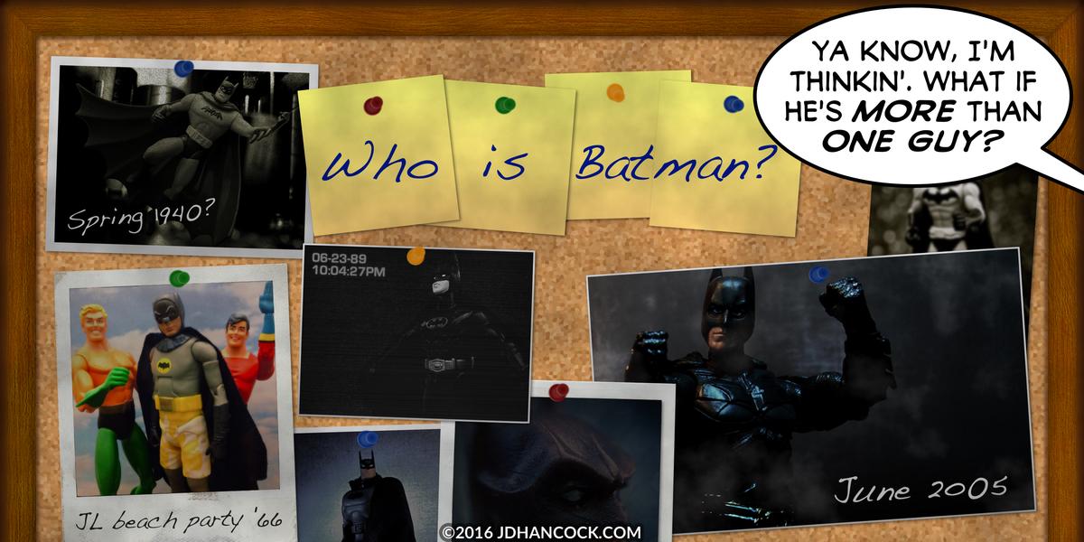PopFig toy comic with various Batman photos on a corkboard.