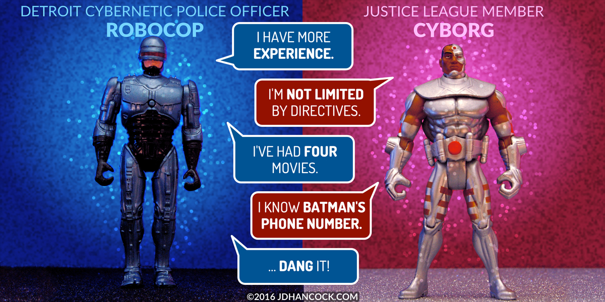 PopFig toy comic with RoboCop and Cyborg.