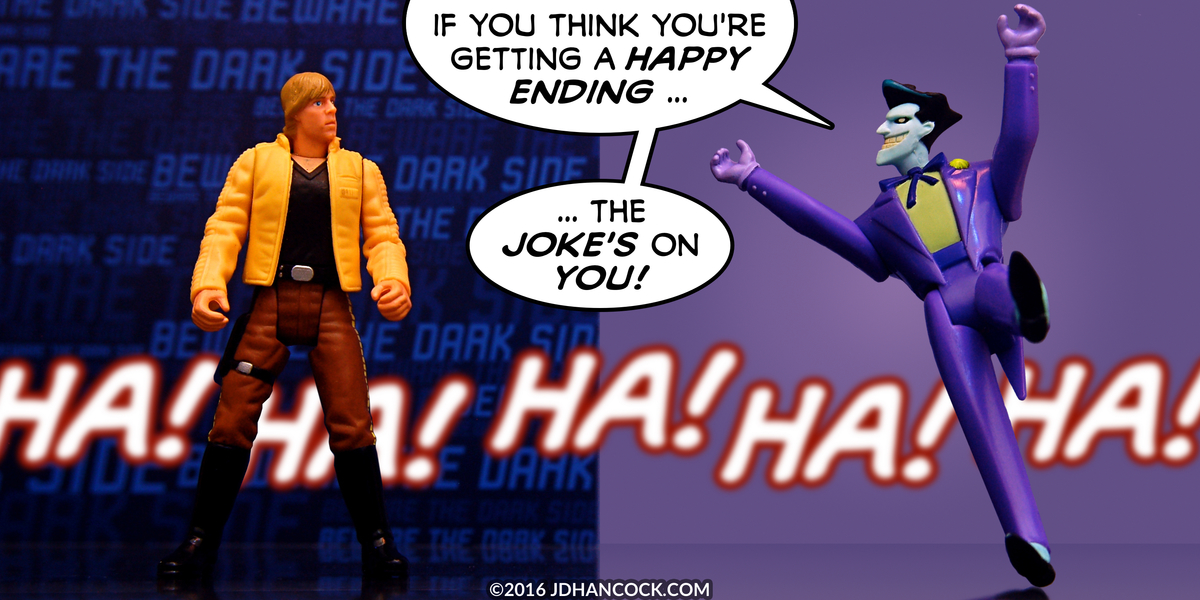 PopFig toy comic with Luke Skywalker and the Joker.