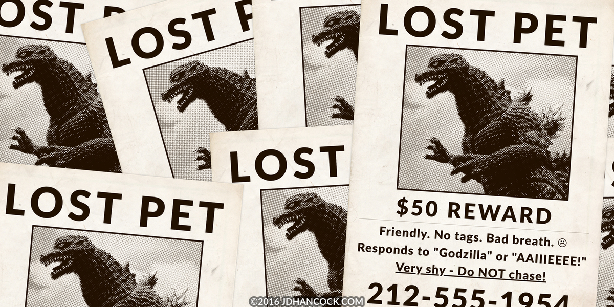 PopFig toy comic with Godzilla on lost pet flyers.