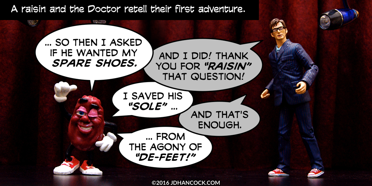 PopFig toy comic with a California raisin and the Doctor.