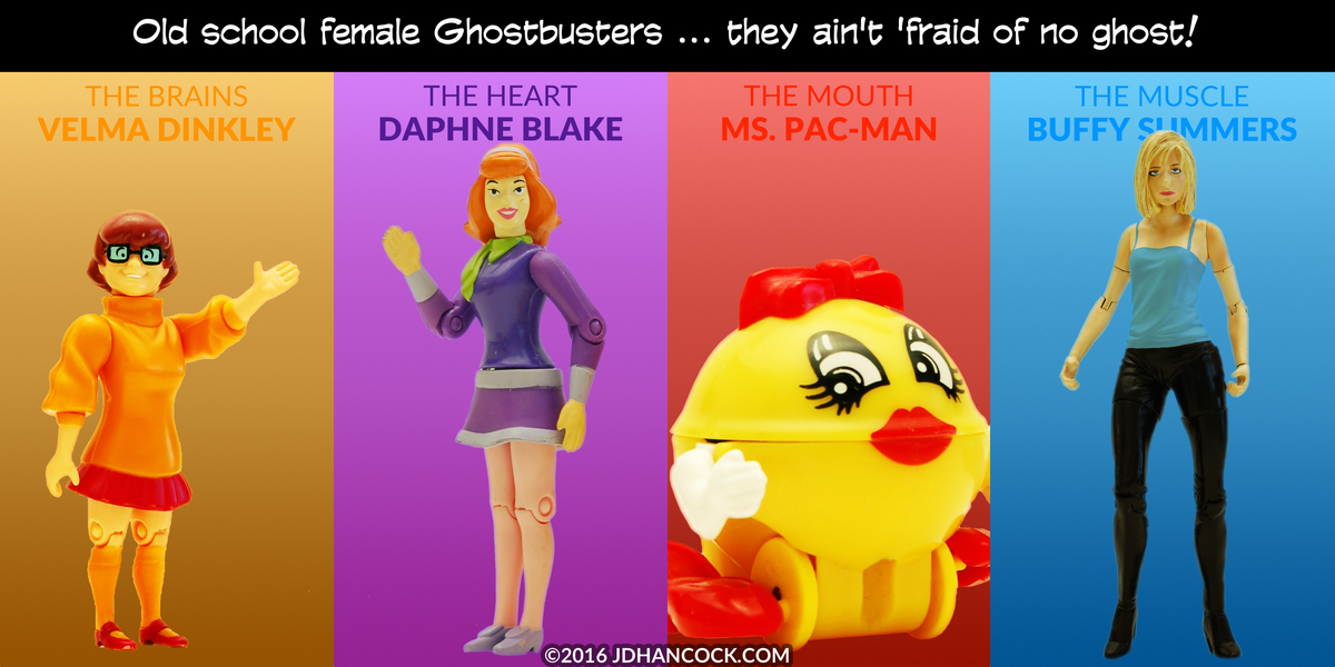 PopFig toy comic with Velma, Daphne, Ms. Pac-Man, and Buffy.