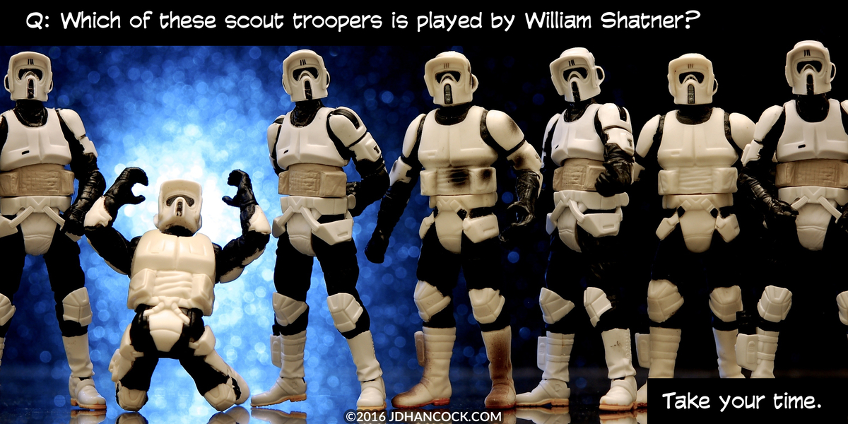 PopFig toy comic with a lineup of scout troopers (stormtroopers).